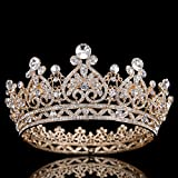 FUMUD Austrian Rhinestone Crystal Tiara Crown Peacock Bridal Hair Accessories For Wedding Quinceanera Tiara Crown Pageant Diamante Tiara (Gold)