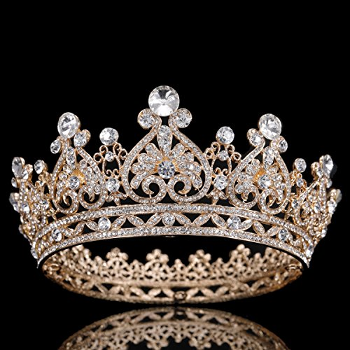 FUMUD Austrian Rhinestone Crystal Tiara Crown Peacock Bridal Hair Accessories For Wedding Quinceanera Tiara Crown Pageant Diamante Tiara (Gold)