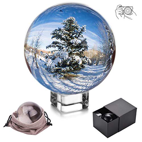 JIHUI Crystal Ball Photography Lensball, K9 Crystal Ball Clear 3-1/5'' (80mm) with Crystal Stand and Pouch for Decorative Photography Prop by JIHUI (Image #8)