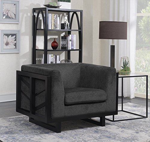 Iconic Home Arianna Accent Club Chair Linen-Textured Upholstery Espresso Finished Lattice Wood Frame, Modern Transitional, Black (Onyx Lattice)