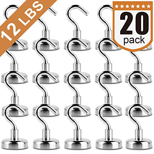 12LBS Heavy Duty Magnetic Hooks, Strong Neodymium Magnet Hook for Home, Kitchen, Workplace, Office and Garage
