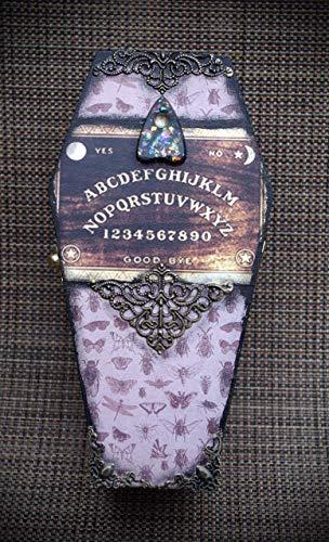Bugs Vintage Style Ouija Spirit Board w/Planchette Bronze Embellishments Hand Made Coffin Trinket Stash Jewelry Box -