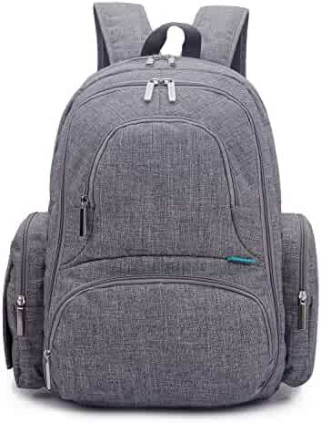 CoolBell Baby Diaper Backpack With Insulated Pockets, Grey, Large