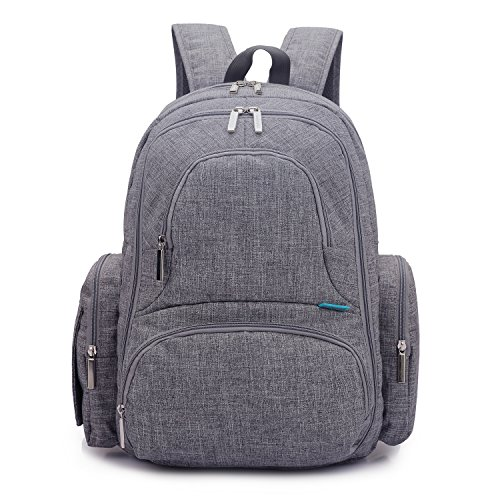 CoolBELL Baby Diaper Backpack With Insulated Pockets / Large Size Water-resistant Baby Bag / Multi-functional Travel Knapsack Include Changing Pad (Grey)