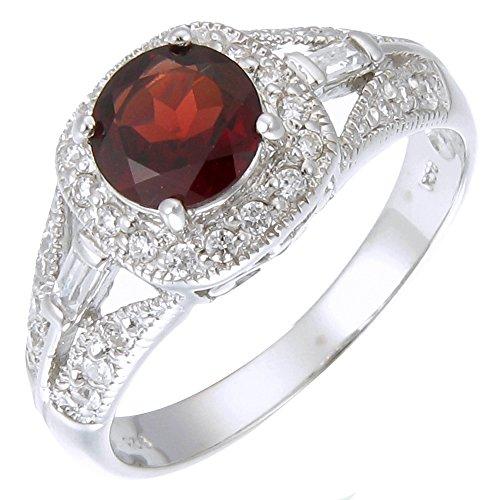 (Sterling Silver Garnet Ring (1.05 CT) In Size 7)