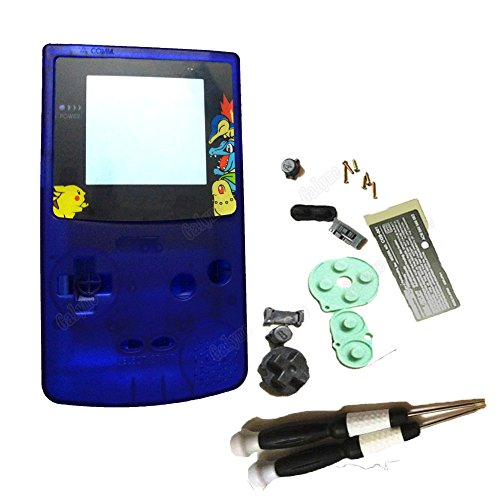 - New Shell For Nintendo GBC Game Case Replace Housing Buttons Full Parts Clear Blue Color Fit Gameboy Color Boy Console System With Screwdrivers