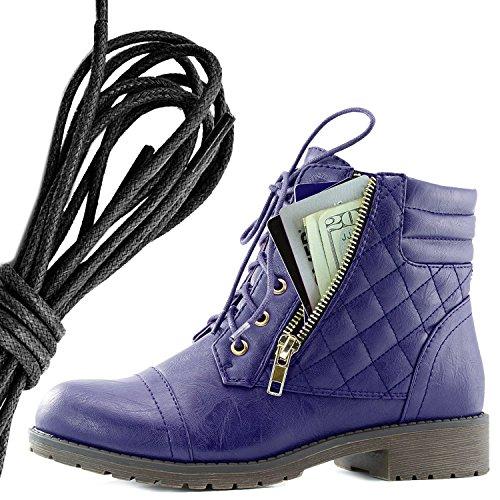 Dailyshoes Donna Militare Allacciatura Fibbia Stivali Da Combattimento Alla Caviglia Alta Tasca Esclusiva Per Carte Di Credito, Nero Viola Pu