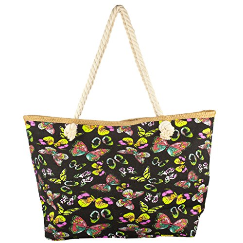 Lux Accessories Lux Accessories Womens Zip Up Beach Bag Butterfly