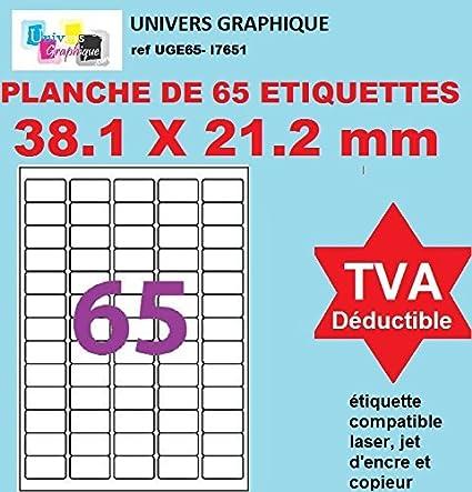 500 A4 hoja 65 pegatina 38 x 21 mm etiqueta adhesiva CA etiqueta ...