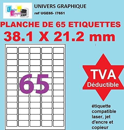 32500 étiquettes 38 x 21 ( 38.1 X 21.2) - 500 planches feuille adhésive de 65 Petite Étiquette blanches adhésives personnalisable. planches de 65 mini étiquettes autocollantes blanches 38,1 X 21 mm pour imprimante jet d'encre et Impression laser planche d'
