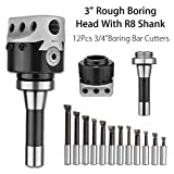 HITSAN 3 Inch Rough Boring Head With R8 Shank And 12pcs 3/4 Inch Boring Bar Cutters Set One Piece