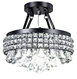 Diamond Life 4-Light Antique Black Round Metal Shade Crystal Chandelier Semi-Flush Mount Ceiling Fixture For Sale