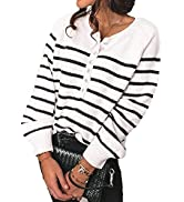 BTFBM Women Long Sleeve Cute Striped Button Down Sweaters Pullover Crew Neck Loose Casual Warm Wi...