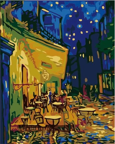 Diy oil painting, paint by number kit- worldwide famous oil painting The Night Cafe in the Place Lamartine in Arles by Van Gogh 1620 inch. (Canvas Arles)