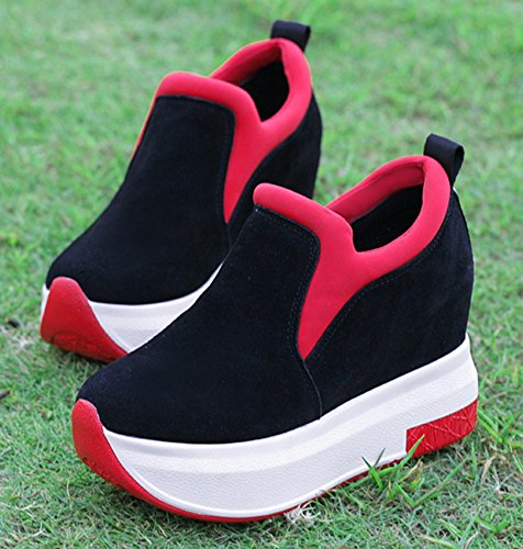 D-Sun Women Increased Within The Higher Flat Shoes Casual High Heels Wedges Platform Sneaker Red DA5KfYQZY