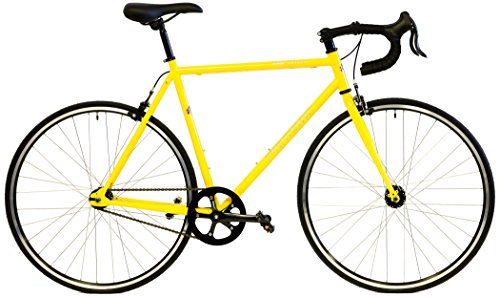 Quality Windsor Hour Plus Single Speed Track Bike Fixie Fixed Gear Bicycle (Yellow, 54cm - fits most 5'7
