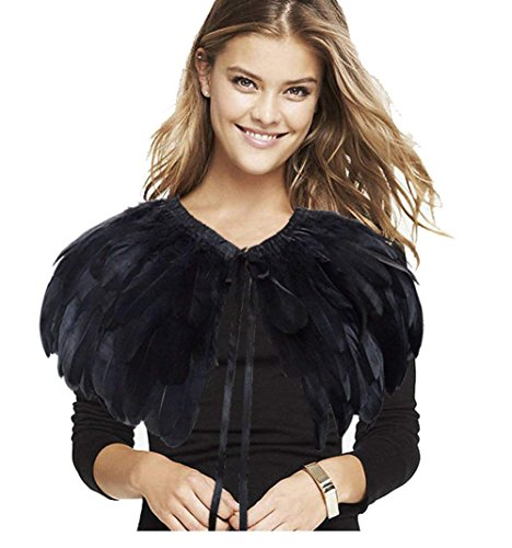 L'vow Fashion Feather Cape Stole Black White Beige Shawl Iridescent (black)]()