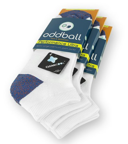 Oddball Performance Plus II Men's No Show Socks XXL (3-Pack) (White) ()