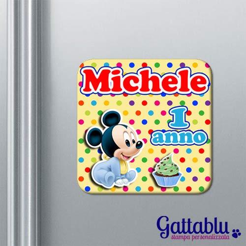 Calamita compleanno PERSONALIZZABILE bomboniera con il NOME topolino inspired