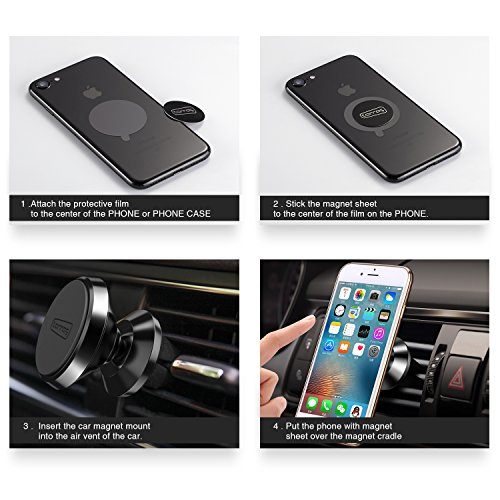 TORRAS Magnetic Car Mount, 360° Rotation Air Vent Cell Phone Holder Car Cradle Mount Compatible for iPhone Xs/Xs Max/XR/X / 8/7 / Plus Samsung Galaxy S9 / S8 / Note 9 / Note 8 and More - Black