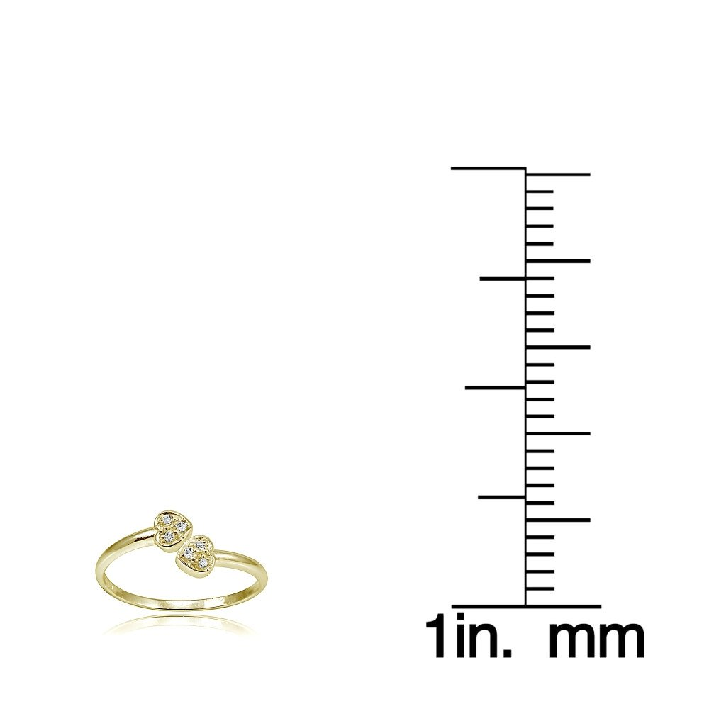 Hoops & Loops Sterling Silver Flash Plated Gold Cubic Zirconia Double Heart Toe Ring by Hoops & Loops (Image #3)