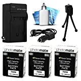 (3 Pack) PhotoMate NP-FW50 FW50 Ultra High Capacity Rechargable Battery (1500mAh) + Rapid Home AC Wall Charger + Car Adapter + Euro Plug + Cleaning Kit + Mini Tripod for Sony Alpha A7, A7 II, A7r, A7s, A3000, A3500, A5000, A5100, A6000, NEX-7, NEX7, NEX-6, NEX6, NEX-5, NEX5, NEX-3, NEX3, NEX-5R, NEX5R, NEX-5T, NEX5T, NEX-5N, NEX5N, NEX-3N, NEX3N, NEX-F3, NEXF3, NEX-C3, NEXC3, NEX-C5, NEXC5, SLT-A33, SLTA33, SLT-A37, SLTA37, SLT-A55, SLTA55, DSC-RX10, DSCRX10 DSLR Digital Camera