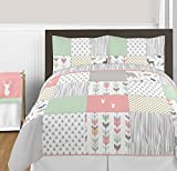 Coral, Mint and Grey Woodsy Deer Girls 3 Piece Full / Queen Bedding Set