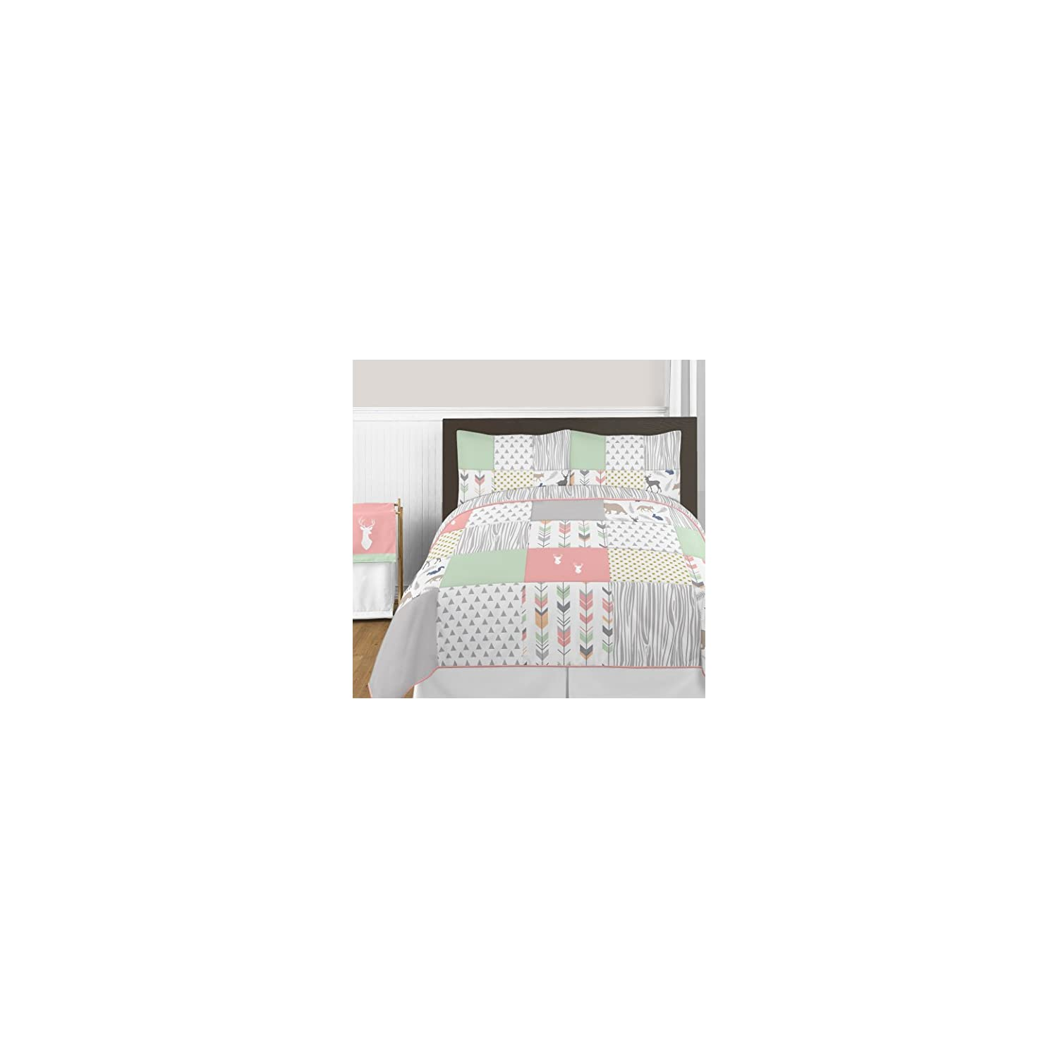 Sweet Jojo Designs Lamp Shade for Coral, Mint and Grey Woodsy Deer Girls Bedding Collection
