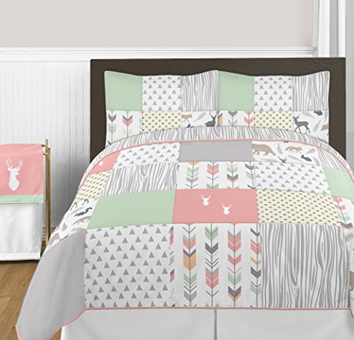 Sweet Jojo Designs 3-Piece Coral, Mint and Grey Woodsy Deer Girls Full/Queen Bedding Set (And Bedding Grey Coral Mint)