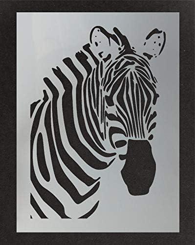 Z/èbre T/ête Pochoir D/écoration Artistique /& Loisirs Cr/éatifs Mod/èle Peinture Toile Art Tissus Meubles Diff/érentes Tailles Options Pochoirs R/éutilisables par Ideal Stencils XS// 11X16CM Murs