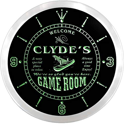 ADVPRO ncx0187-tm Clyde's Hideaway Game Room Custom Name Neon Sign Clock