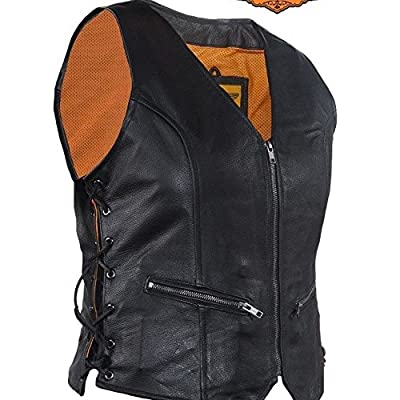 Dream Motorcycle Ladies Biker Side Lace blk Front Zipper Thick Soft Leather Vest New