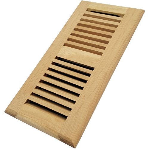 (Homewell White Oak Wood Floor Register, Drop in Vent with Damper, 4x10 Inch,)