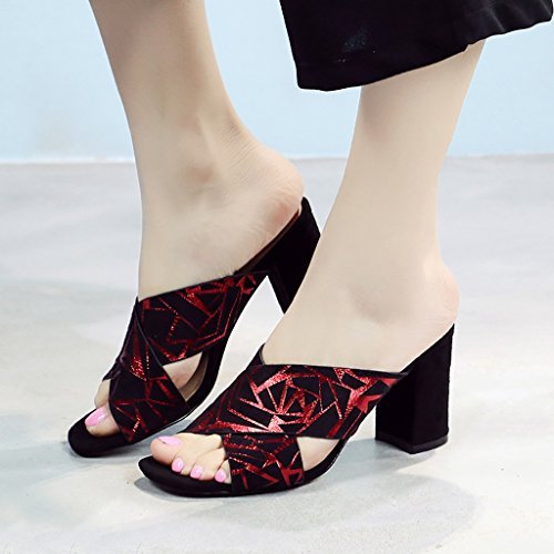 tacón y y transpirable alto para Color moda de ocio Rojo Zapatillas Mujer Sandalias playa Oro verano de playa de de de Zapatillas Zapatillas Cómodo rojo PENGFEI mujer Tama Rojo Chanclas de de compras OSpnfx7