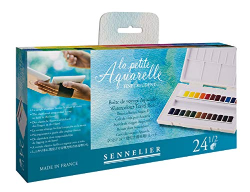 Sennelier La Petite Aquarelle Watercolor Paint Set - 24 Half Pan Plastic Tray With Elastic Hand Strap - Student Grade Watercolor Paint Set - [24 Half Pans]
