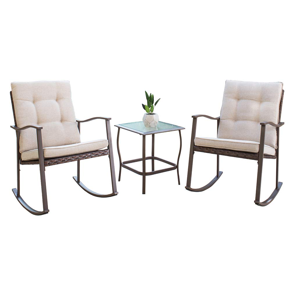Oakmont 3-Piece Rocking Chair Patio Furniture Bistro Sets 2 Chairs with Square Glass Coffee Table Brown Wicker