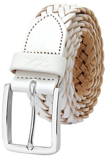 Falari Men's Braided Belt Leather Stainless Steel Buckle 35mm (9007 White, M ()