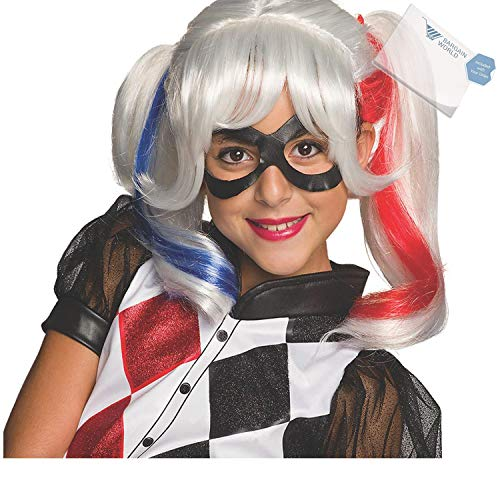 Bargain World Girl's Harley Quinn Wig (With Sticky Notes) -