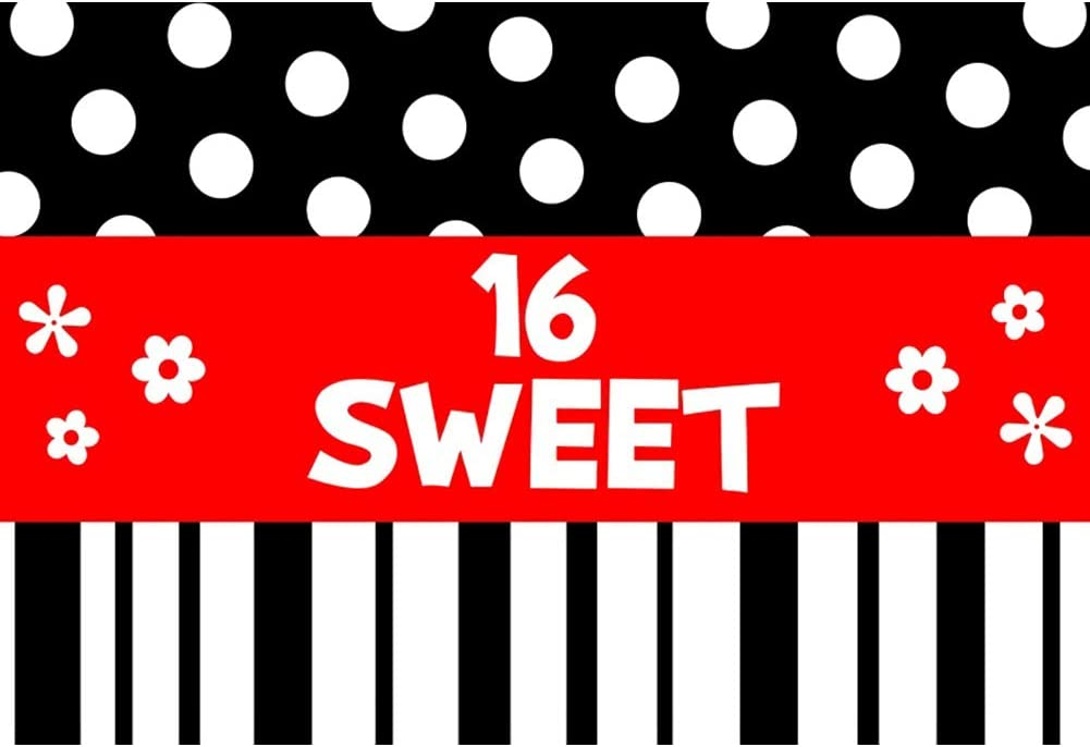 Yeele Sweet 16th Princess Birthday Backdrop 10x8ft Black and White Stripes Dots Photography Background Daughter Son Photo Booth Princess Girls Portrait Dessert Table Decor Photoshoot Props Wallpaper
