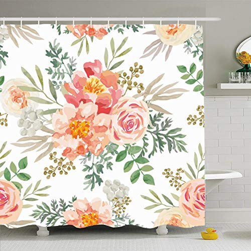 Ahawoso Shower Curtain 72x78 Inches White Watercolor Peony Pink Roses Peonies Khaki Green Blossom Leaves Flower Nature Peach Pattern Waterproof Polyester Fabric Bathroom Curtains Set with Hooks