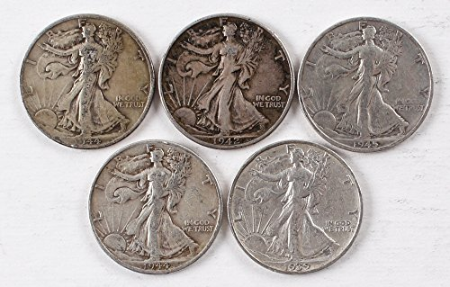 Walking Liberty Set of 5 Half Dollars All Different Dates VG and ()