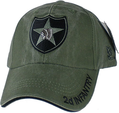 US Army 2nd Infantry Division OD Green Ball Cap, Adjustable
