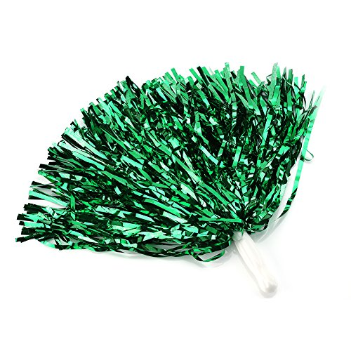 Cheerleading Poms 12 pcs Pompoms Cheer Costume Accessory For Party Dance Sports (Green) -
