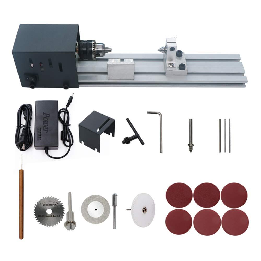 Festnight Mini Lathe Beads Polisher Machine Woodworking Craft DIY Rotary Tool Set Standard Grinding Set US Plug