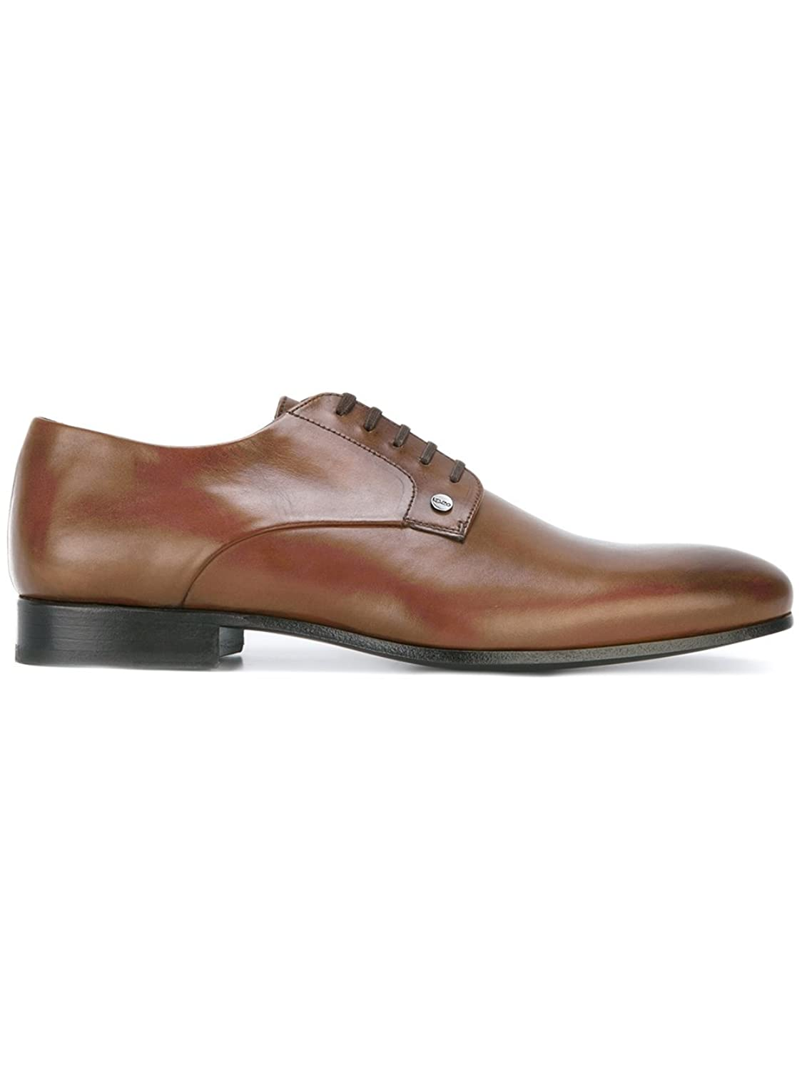 KENZO MEN'S M67314DARKCAMEL BROWN LEATHER LACE-UP SHOES