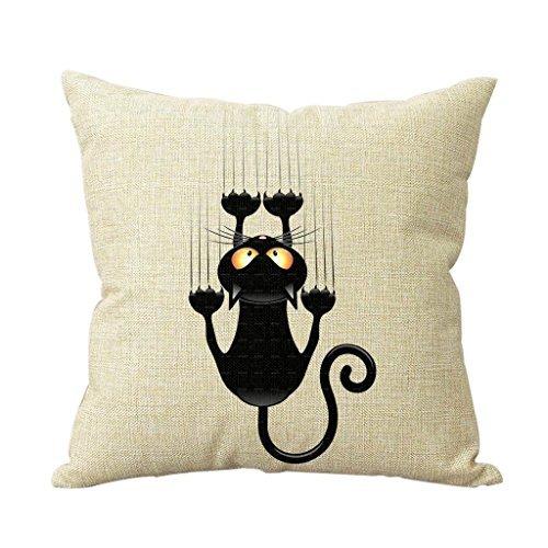 Cotton Linen Climbing Cat Decorative Throw Pillow Case Cover Cat Cushion Cover Case 18*18 New Design Decor Square -
