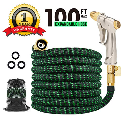 Expandable Garden Hose 100ft, TINGPO Kink Free Water Hose with Strongest 6 Function Zinc Alloy Water Spray Hose Nozzle, Expanding Flexible Outdoor Yard Hose with Double Latex Core, Solid Brass Fitting