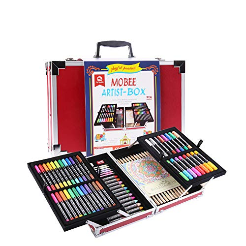 Mobee 97-Piece Artist Box Art Set with Aluminum Case,Kids Pencil Crayon Kit for Painting & Drawing (Mobee Magic Bar)