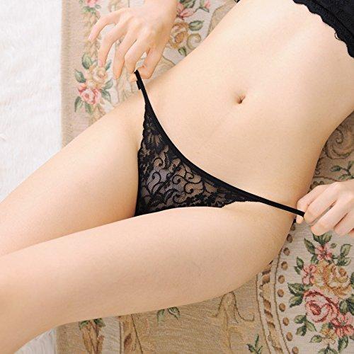 Culotte Femme 3 Coin Ultra tentation dentelle élastique pantalons des couples sous-vêtements sexy, String Rouge Transparent ,