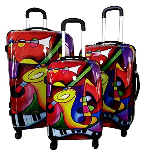 Dejuno Saxaphone Hard Rolling 4 Wheel Spinner Luggage Set, 3-Piece